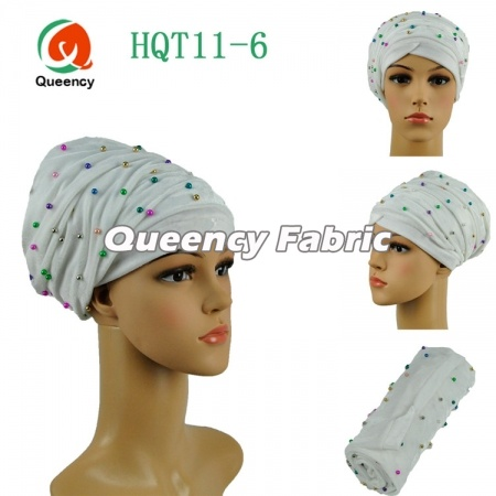 African Head Wrap Plain Turban Beaded Velvet Fabric