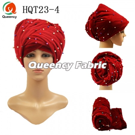 Beaded Turban Velvet Bonnet Muslim Hijab