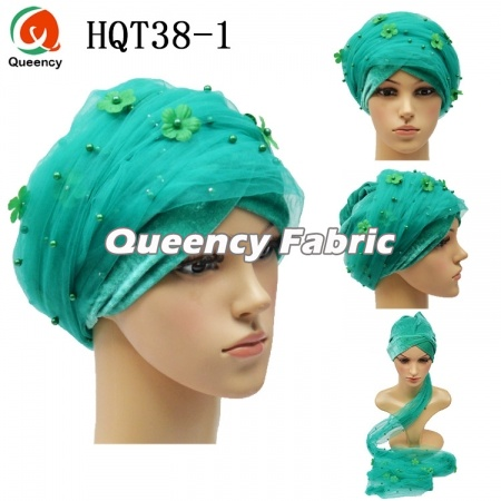 Ladies Velvet Turban Beaded Headtie Wrap