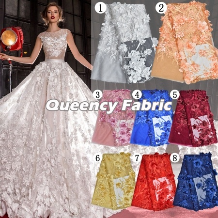 African Tulle Lace Handmade Embroidered 3d Bridal Fabric