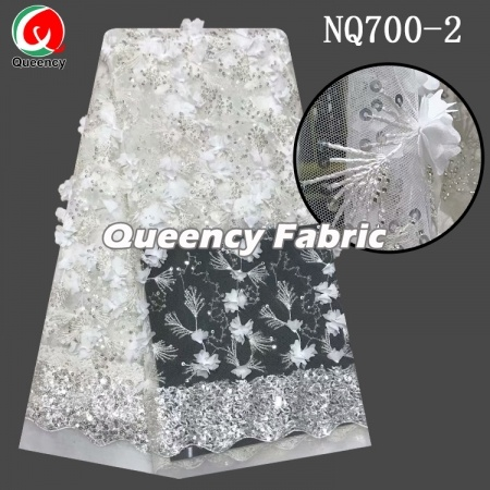 African sequence 3d flower tulle lace